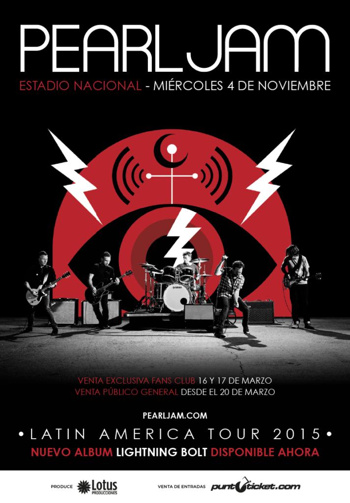 Pearl Jam Chile Afiche