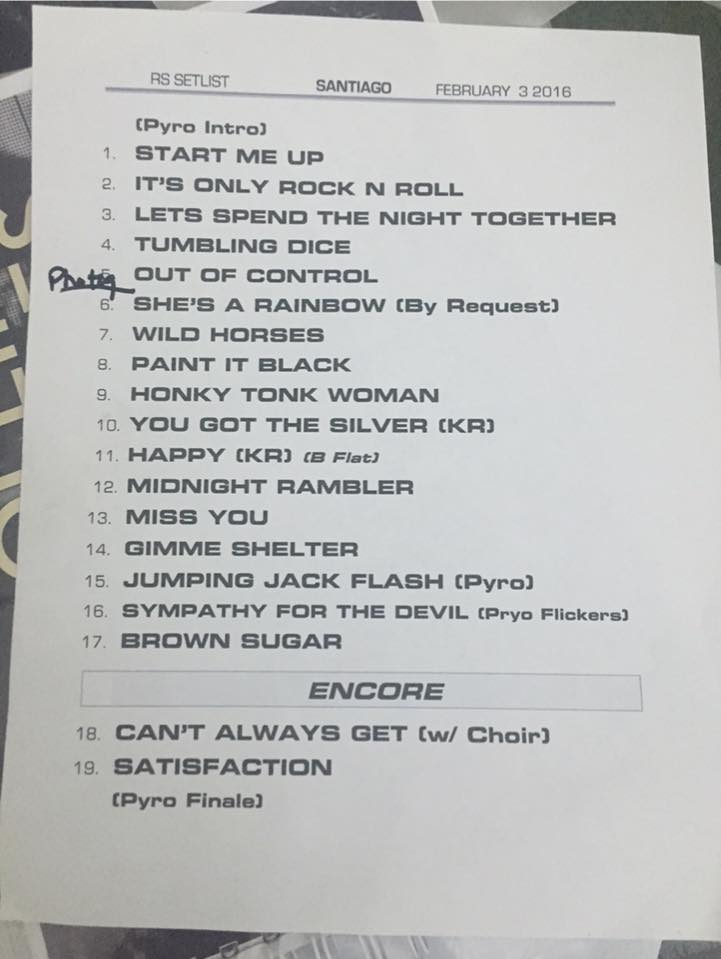 Setlist The Rolling Stones en Chile 2016