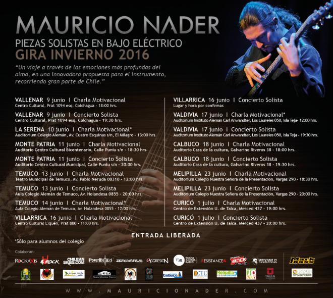 Afiche Gira Invierno 2016 Mauricio Nader Solista Baja