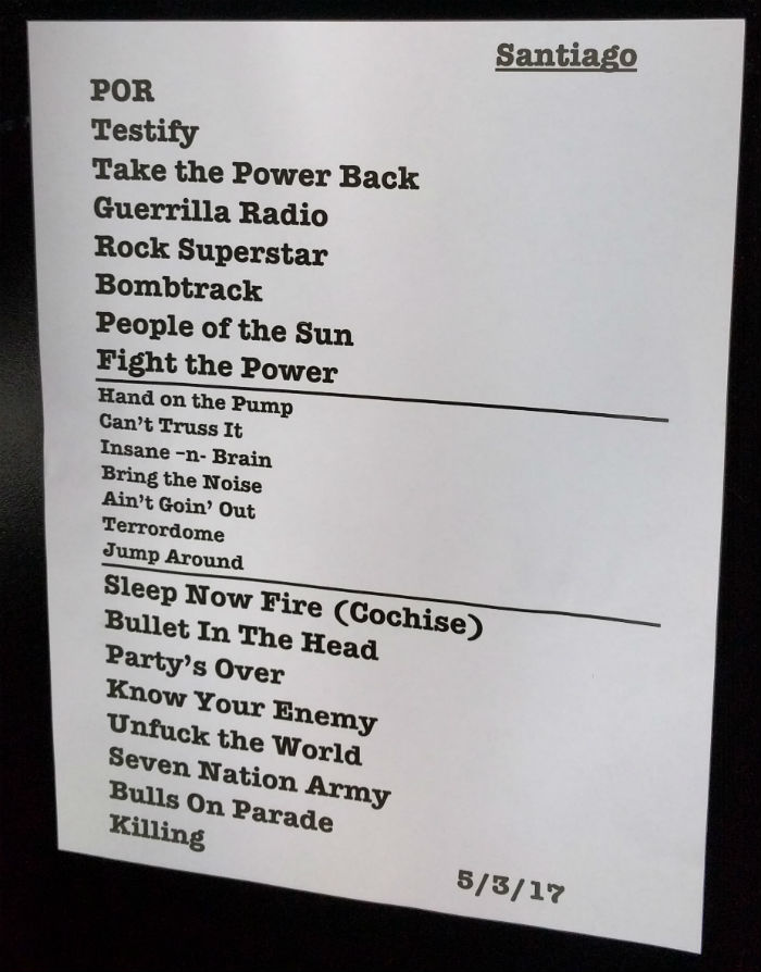 Prophets of Rage Chile 2017 - Setlist OPT