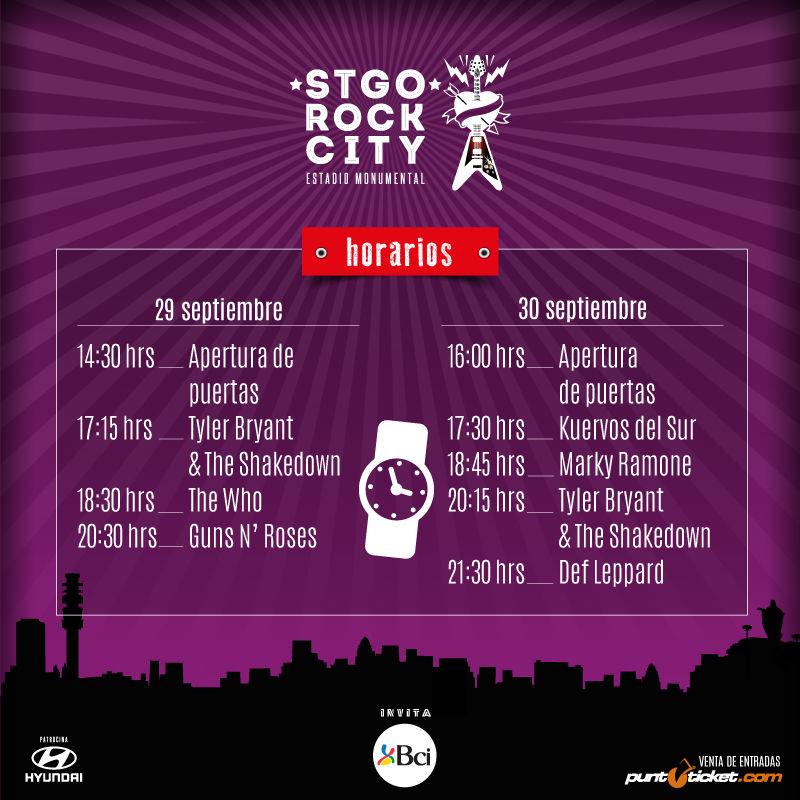 Horarios Stgo Rock City